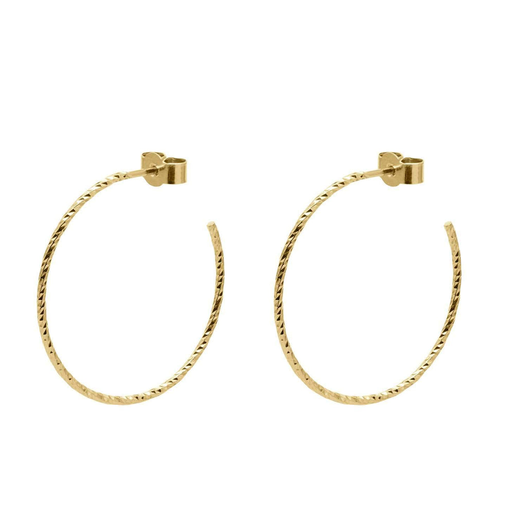 Gold Large Diamond Hoop Earrings