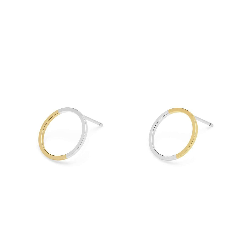 9ct Yellow Gold & Silver Circle Stud Earrings