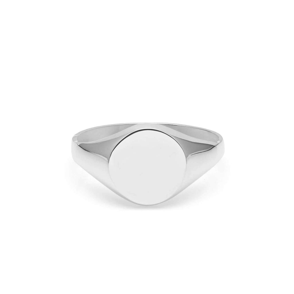 9ct White Gold Round Signet Ring