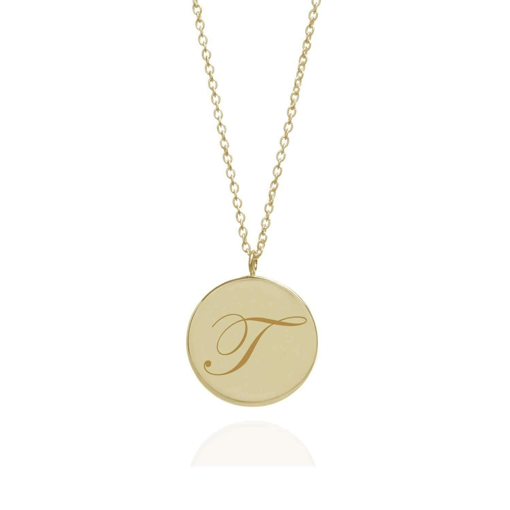 Initial T Edwardian Pendant - 9k Yellow Gold - Myia Bonner Jewellery