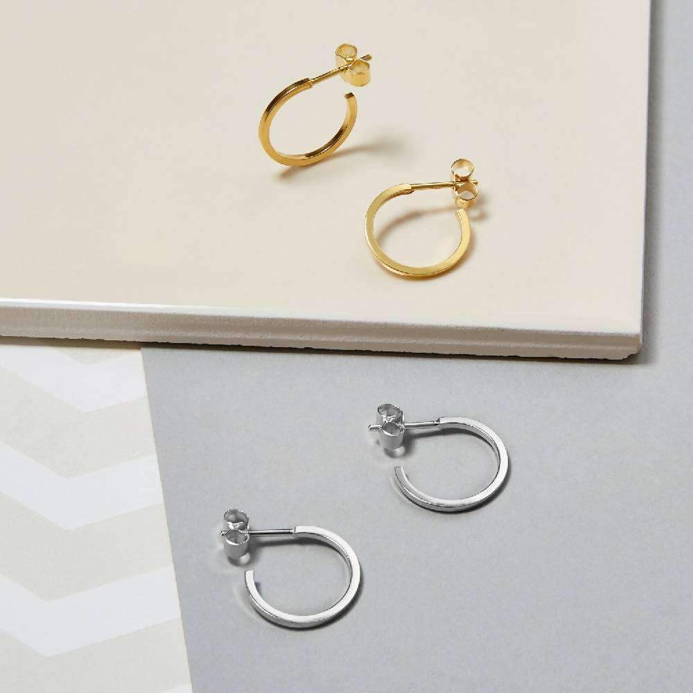 Mini Square Hoop Earrings - Silver