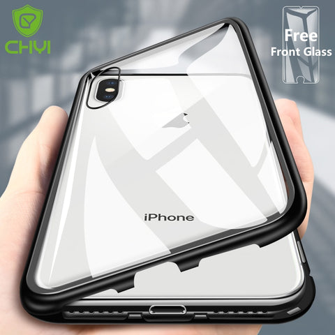 CHYI Built-in Magnetic Case for iPhone X Clear Tempered Glass Magnet Adsorption Case for iPhone - Chestter.co