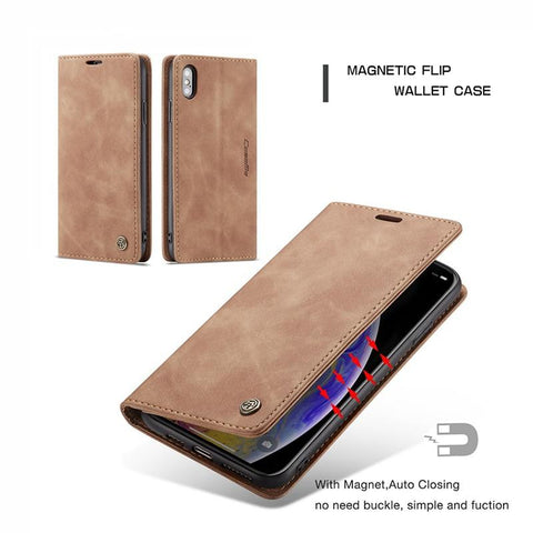 Leather Wallet Flip Case for iPhone 5/6/7/8/X - Chestter.co