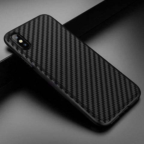 Black Carbon Fiber Material iPhone - 5/6/7/8/X/11 - Chestter.co