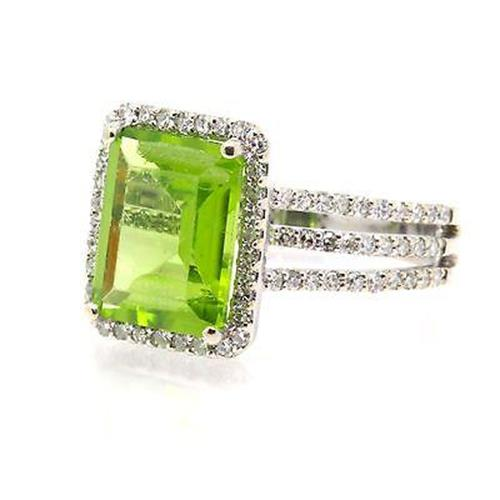 Huge Emerald Peridot And Diamond Pave Ring 6.18cttw, 14K White Gold, Size 5.25