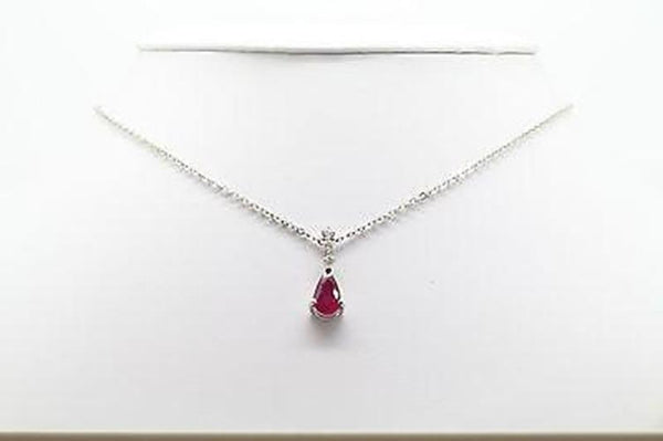 Gorgeous 1.6ct Ruby & Diamond Pendant Necklace, Pear Shape, 18K White Gold 18""