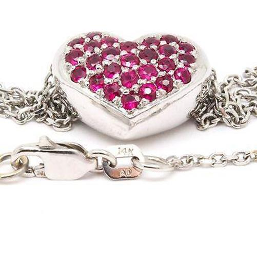 14K White Gold 0.75cts Ruby Heart Pendant Necklace Hand Cut Pave, 18in Length