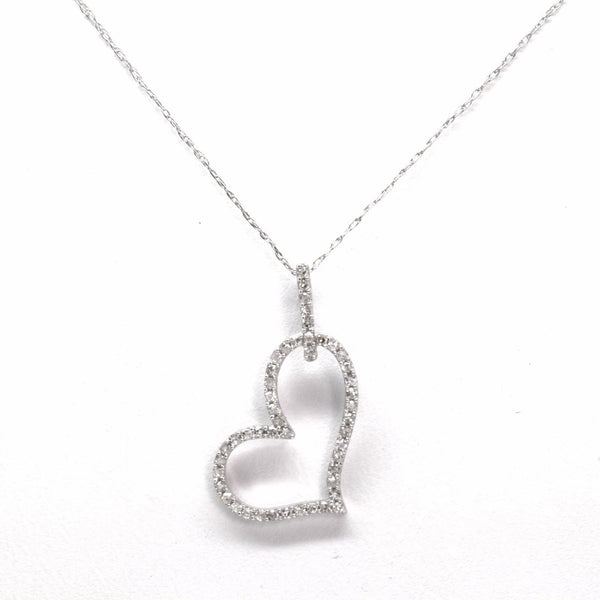 Beautiful 14K White Gold 0.32cts Diamond Heart Pendant Necklace, 16in Chain