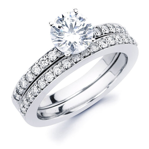 Dvora - Classic Pavé Single Row Bridal Ring Set