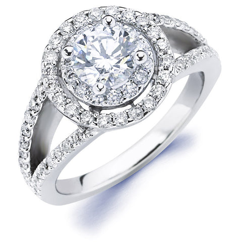 Gabi - Double Halo Split Shank Round Engagement Ring