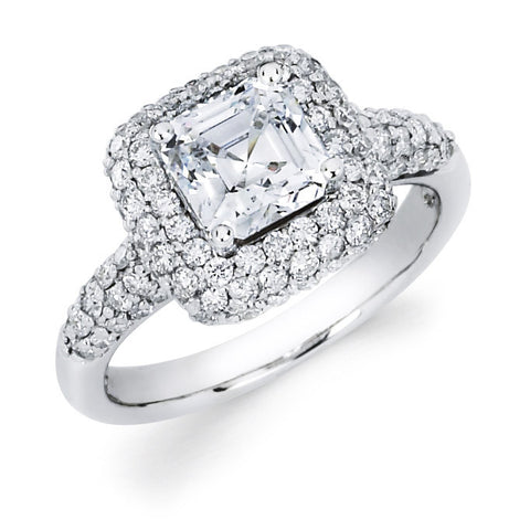Imogene - Triple Pavé Halo Princess Engagement Ring