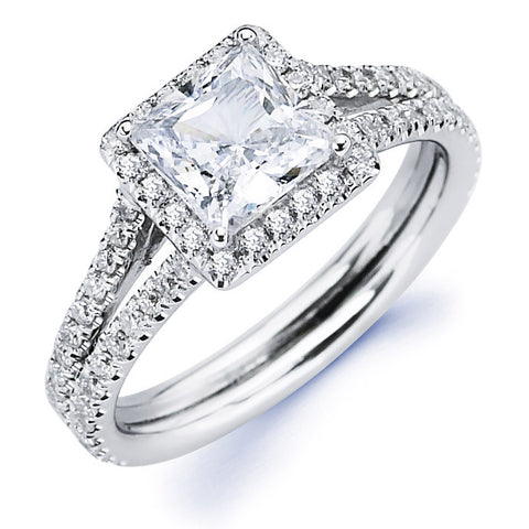 Annabel - Split Shank Princess Halo Engagement Ring
