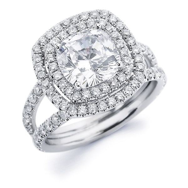 Monet - Double Halo Split Shank Cushion Engagement Ring
