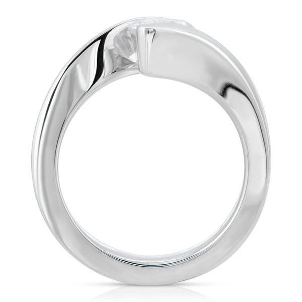 Johanna Modern Bypass Tension Set Engagement Ring in 14K, 18K or Platinum