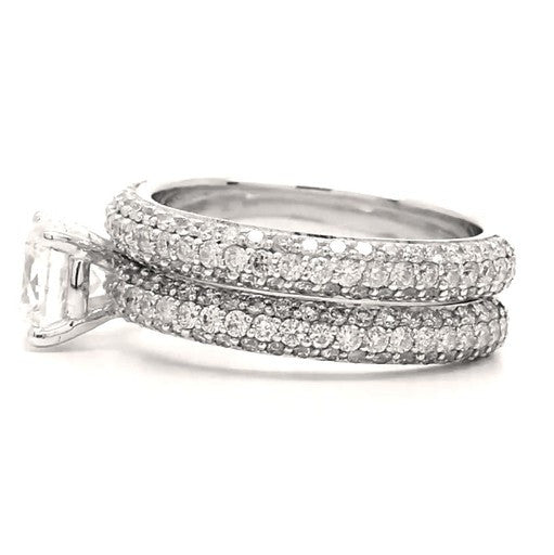Halle - Triple Row Pavé Bridal Ring Set