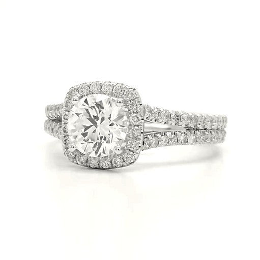 Madchen - Split Shank Pillow Shape Halo Engagement Ring