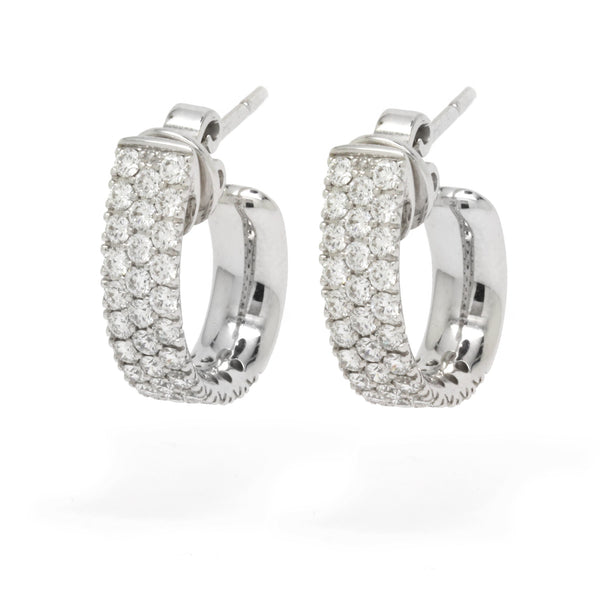 Upscale 1.75cts Diamond Triple Row Pave Hoops Earrings VS / F-G, 18K White Gold