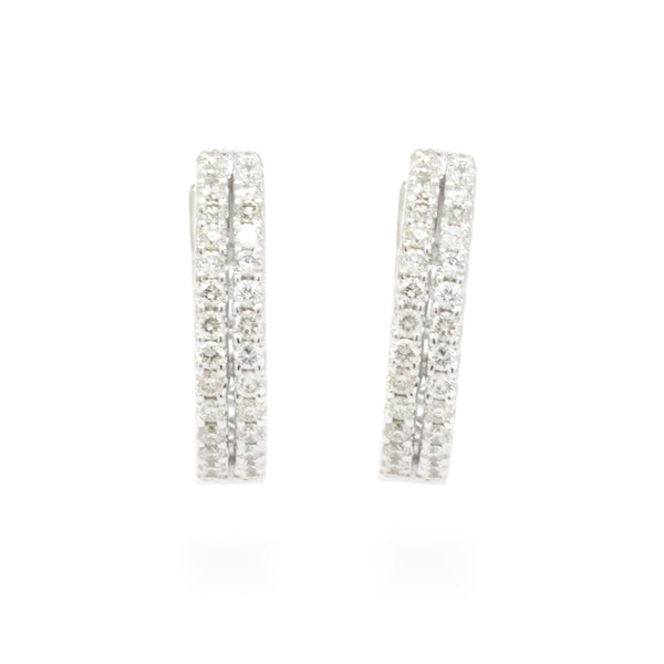 Chic 0.60cts Double Row Pave Diamond Huggie Hoop Earrings VS F-G 14K White Gold