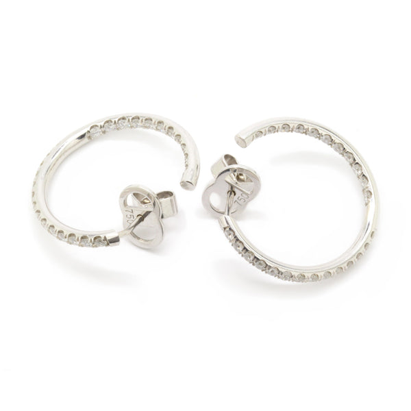 Twisted 1.00cts Inside/Outside Pave Diamond Hoop Earrings VS/F-G 18K White Gold