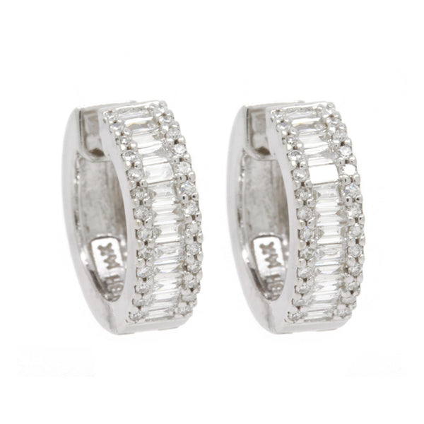 1.05cttw Pave Round And Baguette Diamond Huggie Hoop Earrings 14K White Gold VS2