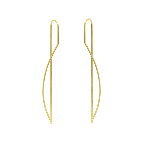 Curved Rod Threader Earrings, 18K Yellow Gold