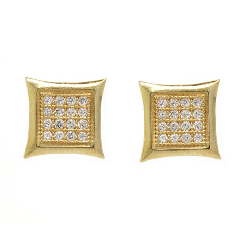0.29cttw Diamond Grid Square Frame Stud Earrings 10k Yellow Gold