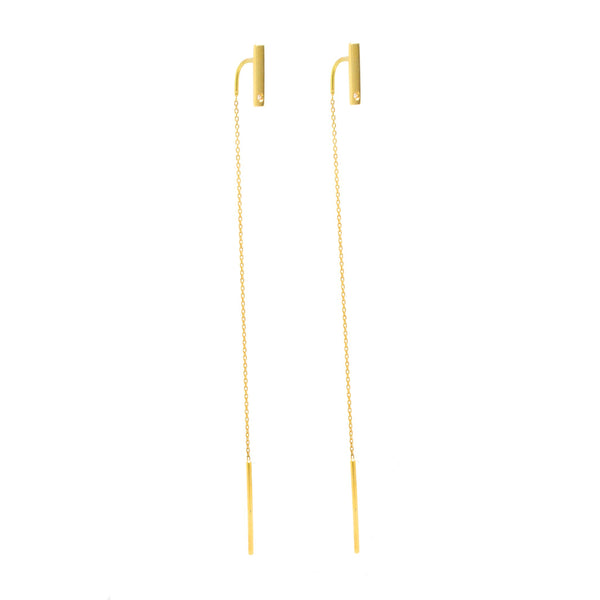 Elegant Threader Dangling Bar Earrings 18K Yellow Gold 0.02ct Diamond