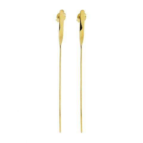 Linear Drop Bar Earrings 18K Yellow Gold