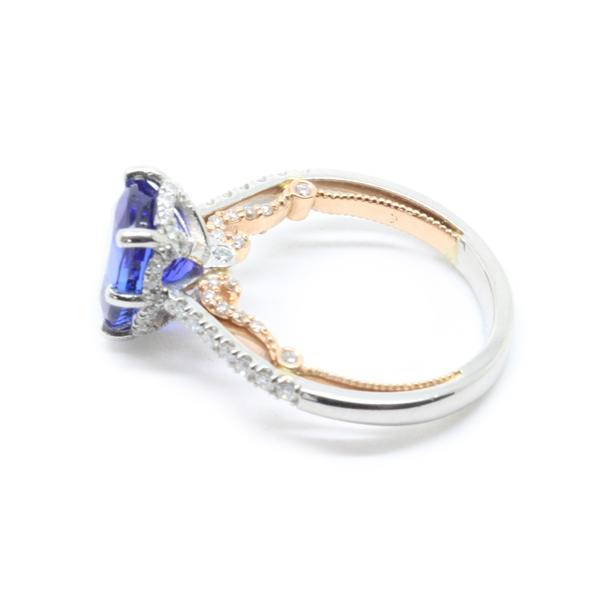 AGL 3.39ct Cushion Tanzanite Diamond Engagement Ring 18K Rose Gold 950 Platinum