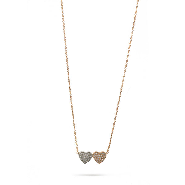 0.23cts Double-Heart Diamond Necklace 14K White And Rose Gold 16-18in Adjustable