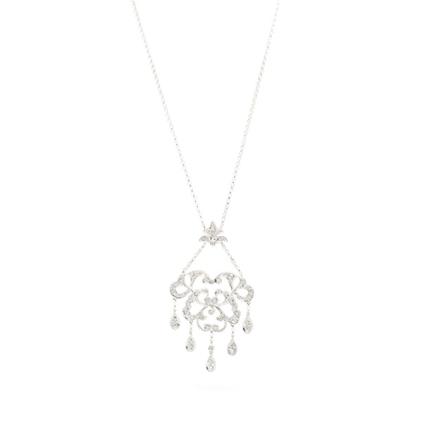 Dangling 0.47cts Diamond Chandelier Necklace 14K White Gold, 16in L