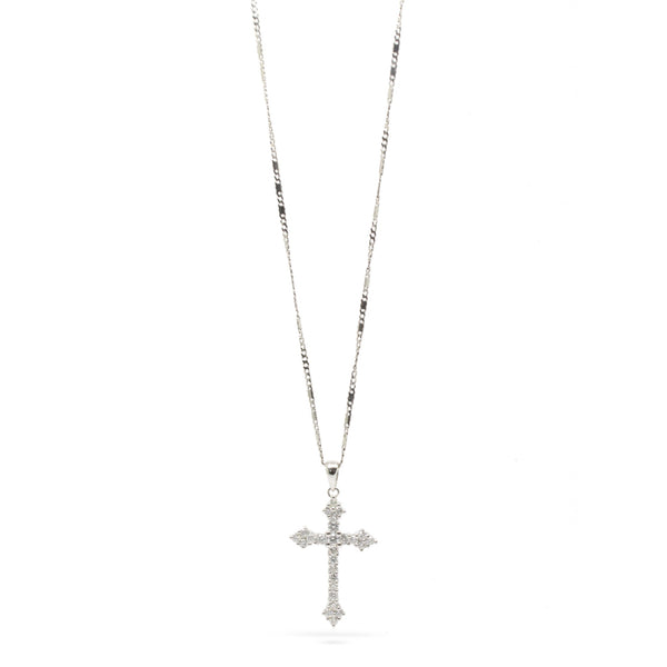Blissful 0.56cts Diamond Cross Pendant Necklace, 14K White Gold, 17in L