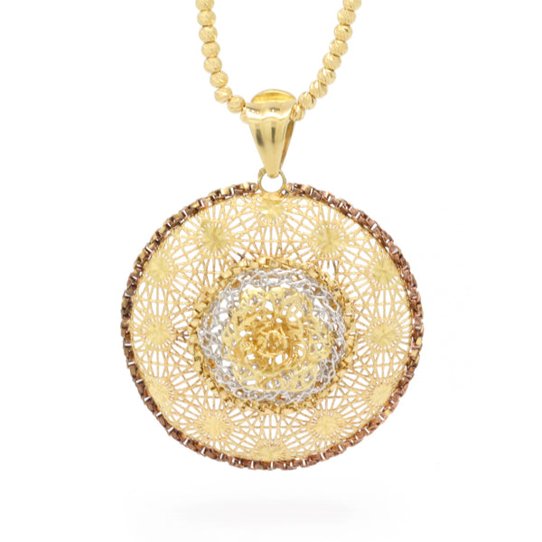 18K Yellow Gold Vintage Diamond-Cut Handmade Radial Necklace Pendant, 18 in L