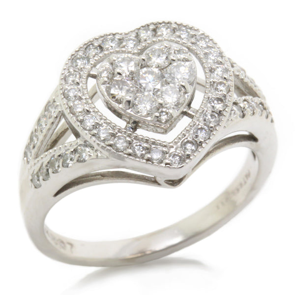 Delightful 0.73ct Diamond Pave Heart Cluster Ring Halo, 14K White Gold, Size 7