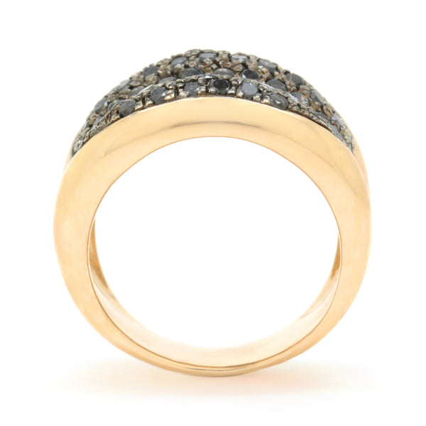 Modern 1.06ct Black Diamond Pave Cocktail Ring, 18K Rose Gold, Size 6