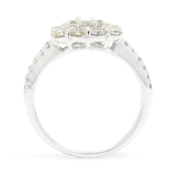 2.00cttw Cluster Diamond Engagement Ring Round + Baguette VS/GH 18K White Gold