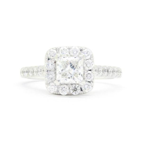 Neil Lane 2.24cttw Halo Diamond Engagement Ring, 1ct Princess Center Diamond 14K