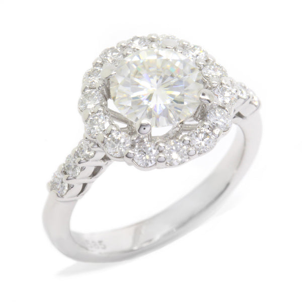 1.50ct Round Moissanite + 0.62ct Diamond Halo Engagement Ring 14k White Gold
