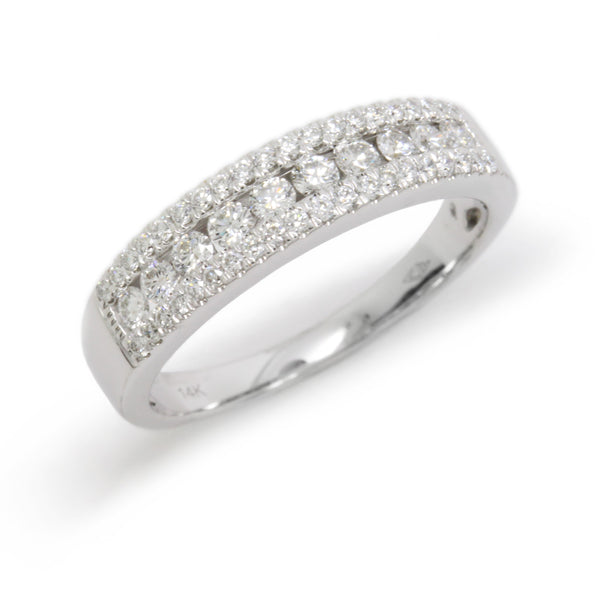 Elegant 0.50cts Stone Diamond Wedding Ring Band, White Gold 14K, Size 7