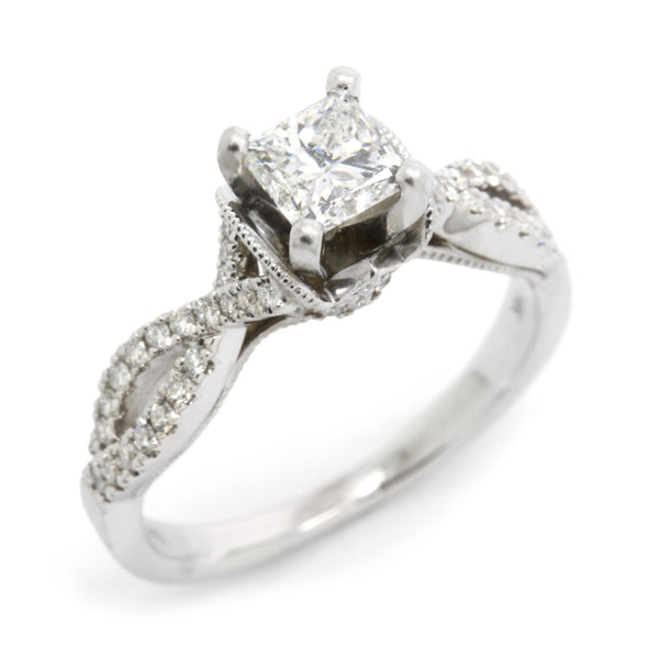 Natalie K 1.07cts tw (0.65ct Princess Cut Center) Diamond Engagement Ring 14K