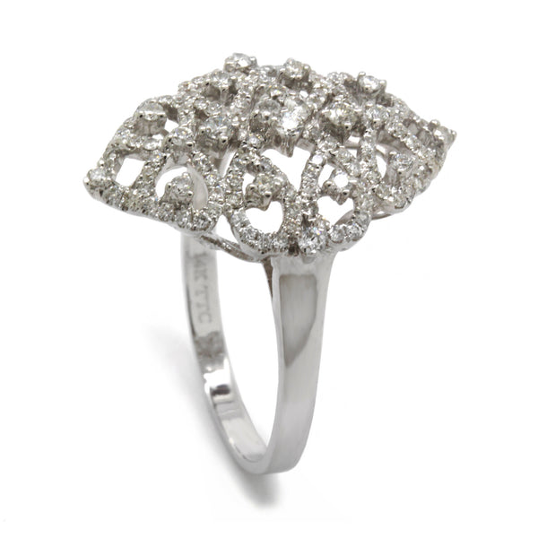 Fancy 0.88cts Diamond Ring Band Vintage Style Filigree, White Gold 14K, Size 8