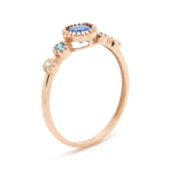 0.06cts Diamond Ring Band With Topaz Sapphire Gemstones, Rose Gold 14K, Size 7
