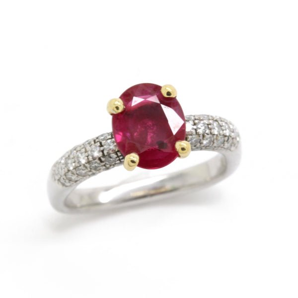 1.05ct Ruby 0.40cts Diamond Engagement Ring, Modern Euro Shank, 18K Gold, Size 5