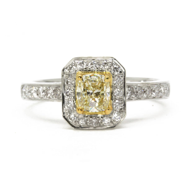 0.83cttw Halo Diamond Engagement Ring, Fancy Light Yellow Cushion 14K White Gold