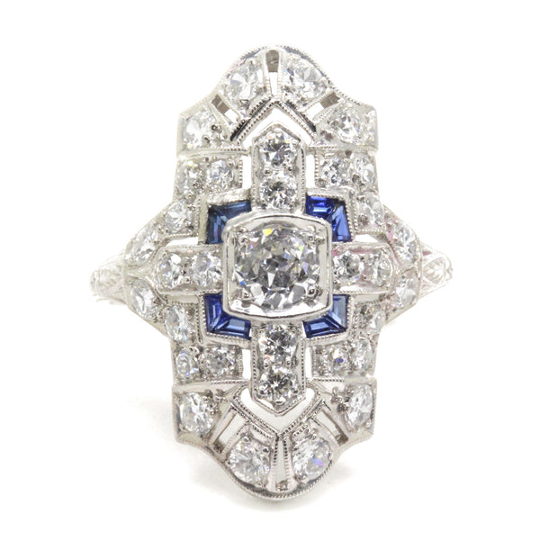 1.95cttw Art Deco Diamond Sapphire Engagement Ring, Vintage, Platinum, Size 7