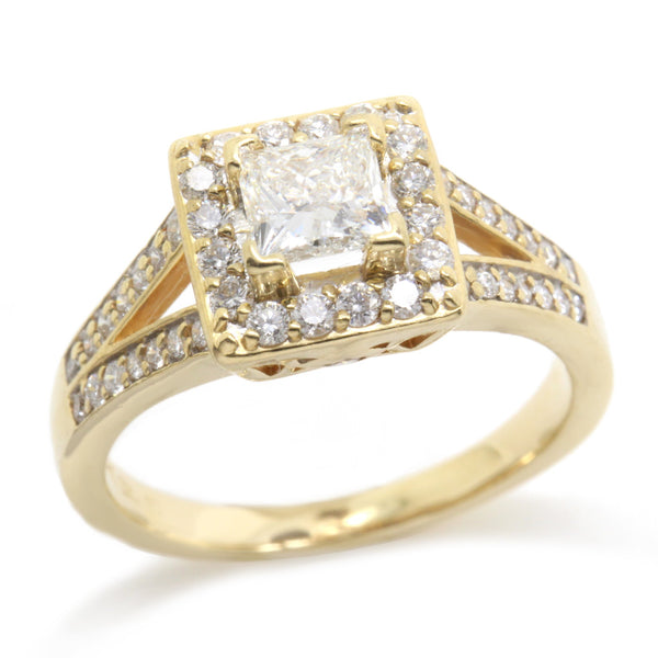 Gorgeous 1.08ct Princess Cut Diamond Halo Engagement Ring, 14K Gold, Size 6