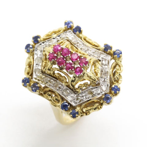 Bicolor 0.60cttw Vintage European Ring Art Deco Diamond Sapphire Ruby 18k Gold