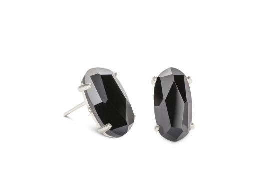 Betty Silver Stud Earrings In Black Opaque Glass