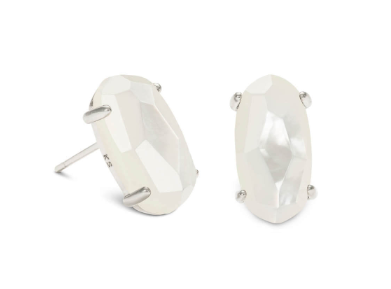 Betty Silver Stud Earrings In Ivory Pearl