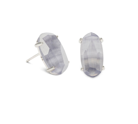 Betty Silver Stud Earrings In Slate Cats Eye